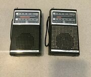 Vintage Lot 2 General Electric Ge Transistor Radios 7-2500a And 7-2500b Tested