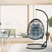 Swing Chair Wicker Basket Seat With Cushion Steel Support Stand Frame For Home