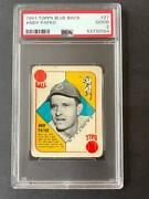 1951 Topps Blue Back Andy Pafko Baseball Card Cubs 27 Gd Good Psa 2