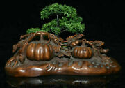 14.4 Old Chinese Boxwood Carving Feng Shui Pumpkin Lucky Statue Sculpture