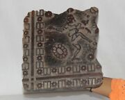 Vintage Wooden Printing Blocks Hand Carved Textile Fabric Stamps 12837