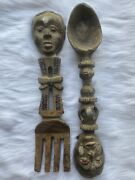Large Tribal Mask Fork And Spoon Wall Decor Wood And Metal Detail