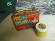 Vintage 1965 Peanuts Charlie Brown Red Metal Thermos Lunchbox W/ Lucy Thermos