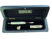 Rare Parker Duofold Centennial Fountain Pen Pearl And Black And Gold Fine Pt In Box