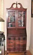Slant Front Secretary Bookcase Antique Reproduction In Mahogany Nicely Made