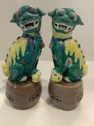 Chinese Foo Dogs Pair Ceramic Porcelain 1950s Mint Condition 6.25x3.5x2.5andrdquo