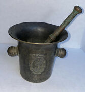 Brass Vintage Mortar Burnished With Lion And Pestle See Pictures Please