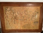 Antique Central School Supply House Relief Map Of United States 48 X 34 1895