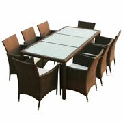 Poly Rattan Garden Funiture Dining Table And 8 Chairs Dining Set Outdoor Patio