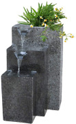 Rock Cast Stone Water Fountain With Led Lights Three Tier Fountains With Low Spl