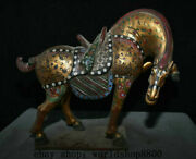 16.8 Old China Tang Sancai Pottery Painting Gilt Dynasty Running Horse Statue