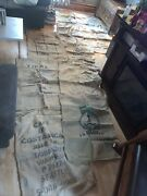 Lot Of 10 Burlap Sacks Coffee Beans Various Countries And Colors