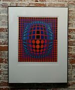 Victor Vasarely -red Rolling Ball Optical Illusion-pencil Signed Color Screen