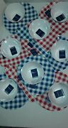 Nautica Home Gingham Melamine 8 Dinner Plates 8 Bowls 4 Serving Fork And Spoon New