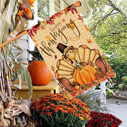Thanksgiving House Flag 28x40 Inch, Turkey Flags Double Sided