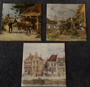 """Holland Ter Steege Hand Painted Tiles  6x6"""" Lot Of 3 Horse Fish Houses Canal"""