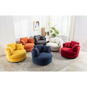 Modern Akili Swivel Accent Barrel Chair For Hotel Living Room W/pillow Soft Seat