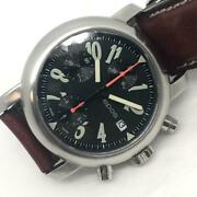 Epos Automatic Date Valjoux 7750 Chronograph Watch Ss Black Works Authentic