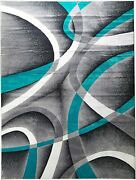 Abstract Contemporary Area Rug Best Quality Swirls Carpets Turquoise Soft Rugs