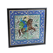 Antique Old Iznik Persian Middle East Pottery The St Goerge Hand Drawing Tiles