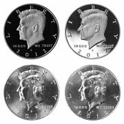 2012 P D S S Kennedy Half Dollar Year Set Silver And Clad Proof And Bu Us 4 Coin Lot