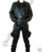 100 Genuine Leather Ww2 German Tunic And Breeches Trousers Military Uniform Coat