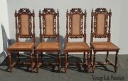 Set Of Four Vintage Spanish Revival Ornate Carved Cane Dining Accent Chairs Asis