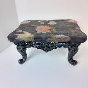 Antique Foot Stool Cast Iron Base Tapestry Top Floral Flowers Black Legs Heavy