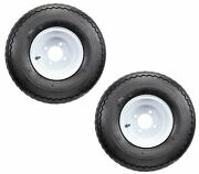 Two Golf Cart Tires On Rims 18 X 8.5 X 8 18-850-8 18x8.50-8 White 4 Lug 18 In.