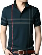 Womleys Mens Casual Striped Short Sleeve Collared T Shirt Polo Shirts