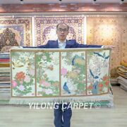 2and039x4and039 Four Seasons Handknotted Silk Carpet Exquisite Floral Area Rug 084h