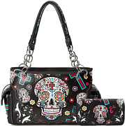 Sugar Skull Rose Flower Day Of The Dead Concealed Carry Purse Totes Women Handba