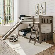 Solid Wood Twin Low Bunk Bed With Slide, Clay