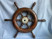 Shipand039s Steering Wheel Boat Yacht Wooden Hand Crafted Nautical Vintage Antique