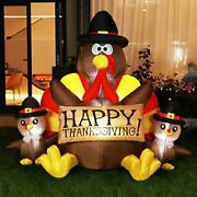 6ft Height Happy Thanksgiving Inflatable Led Lighted Turkey Family Blow Up Decor