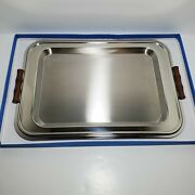 Couzon Silver Wood Handled Platter - Made In France- 16 X 11 Polished Brushed