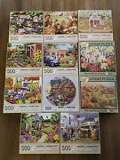 Lot Of 11 Bits And Pieces 500 Piece Puzzles 1 Round / 2 Studio Complete
