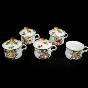Herend Fruit Basket Cup With Lid Gold Color