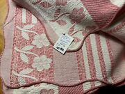Bates Pink / Wh Sripes Cotton Vint Jacquard Blanket Coverlet Spread Throw 64x96