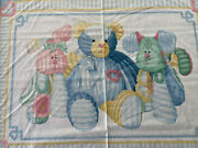 Daisy Kingdom Baby Chenille Quilt Cotton Fabric Panel Teddy Blue Rare Diy Sewing