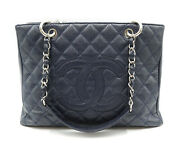 Navy Blue Caviar Quilted Grand Shopping Tote W/ Dust Cover And Card