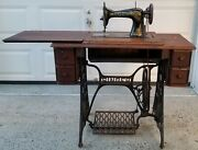 Vc Antique 1920 Model 15 Manual Pedal Singer Sewing Machine Cast Iron Table