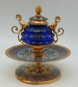 Antique 19th France Gold Bronze And Cut Crystal Ink Baccarat CloisonnÉ 15,cm