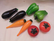 Greenbrier International Murano Style Glass Vegetables -lot Of 8 Lg Pieces