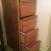 Filing Cabinet Oak, Solid Wood, Legal And Regular Files 4 Drawers, Excellent