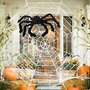 Halloween Decorations 12 Ft Giant Round Spider Web And Fake Large Hairy Spider