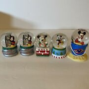 Lot Of 5 Walt Disney Mickey Mouse -jc Penney Christmas Mini Snow Globes And Other