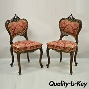 Antique Victorian French Carved Mahogany Parlor Accent Side Chairs - A Pair