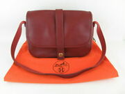 Hermes Red Rouge Leather Made Of Leather Shawl Shoulder Bag With Storage In
