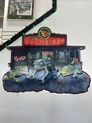 Budweiser 1999 Frogs Chameleon Embossed Metal Tin Sign Bud - Weis - Er 32andrdquox24andrdquo